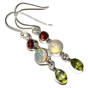 Ethiopian Opal & Peridot 925 Sterling Silver Earrings Jewelry JB14895