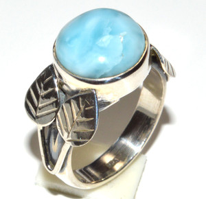 Genuine Larimar - Dominican Republic 925 Sterling Silver Ring s.5.5 JB15485