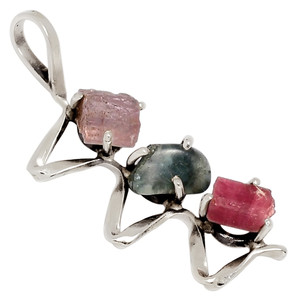Pink & Green  Tourmaline Crystal 925 Sterling Silver Pendant Jewelry 33433P