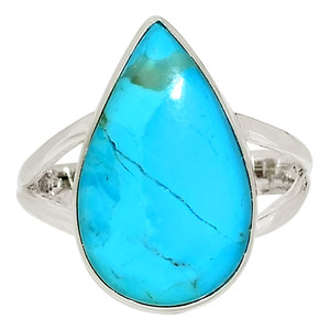 Blue Mohave Turquoise, Arizona 925 Sterling Silver Ring Jewelry s.10 33602R