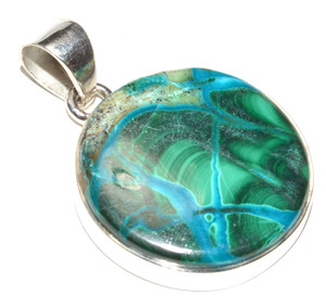 Malachite In Chrysocolla 925 Sterling Silver Pendant Jewelry JB15330
