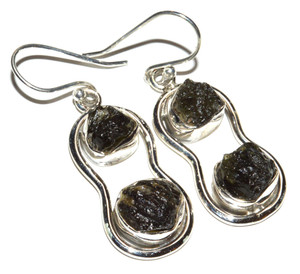 Genuine Czeh Moldavite 925 Sterling Silver Earrings Jewelry JB14878