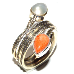 Coral, Pearl 925 Sterling Silver Ring Jewelry s.7.5  JB15887