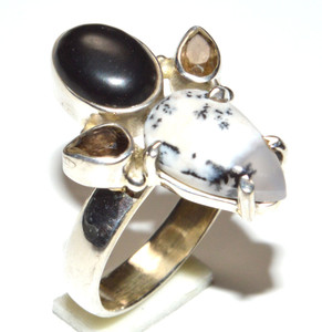 Dendritic Opal, Black Onyx 925 Sterling Silver Ring Jewelry s.7.5  JB15899