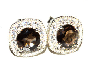 Natural Smoky Topaz 925 Sterling Silver Earrings Jewelry JB16210