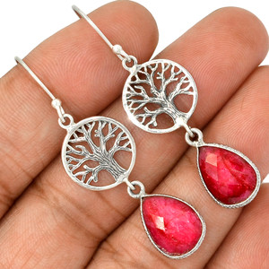 Tree Of Life - Ruby 925 Sterling Silver Earrings Jewelry AE90217 102L
