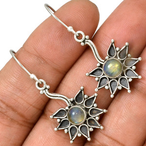 Moonstone - India 925 Sterling Silver Earrings Jewelry AE81609 42V