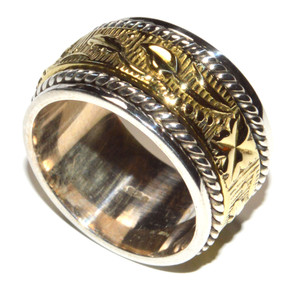 Two Tone - Meditation Spin 925 Sterling Silver Ring Jewelry s.7 JB15421