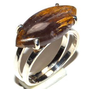 Golden Cacoxenite 925 Sterling Silver Ring Jewelry s.7 JB15906