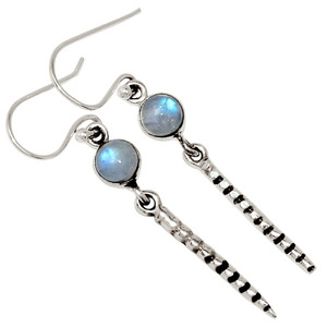 Moonstone - India 925 Sterling Silver Earrings Jewelry 33781E