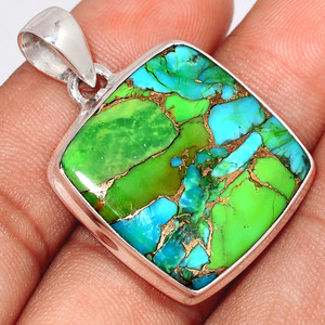 Blue Turquoise In Green Mohave 925 Sterling Silver Pendant  Jewelry BTGP71