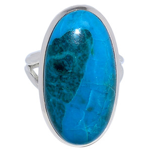 Chrysocolla Peru 925 Sterling Silver Ring Jewelry s.8 CCPR321