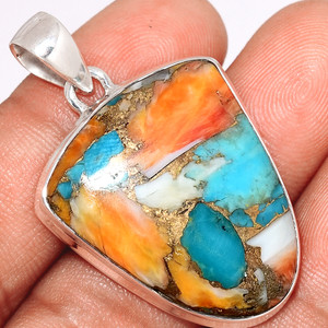Spiny Oyster Arizona Turquoise 925 Sterling Silver Pendant  Jewelry SOTP609