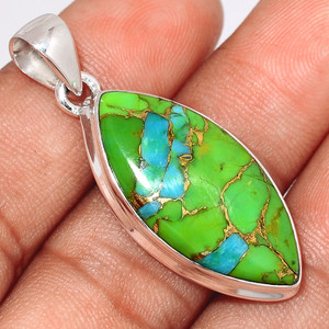 Blue Turquoise In Green Mohave 925 Sterling Silver Pendant  Jewelry BTGP49