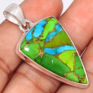 Blue Turquoise In Green Mohave 925 Sterling Silver Pendant  Jewelry BTGP41