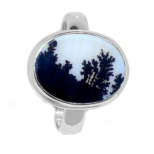 Scenic Dendritic Agate Opal 925 Sterling Silver Ring Jewelry s.9 SDAR1087