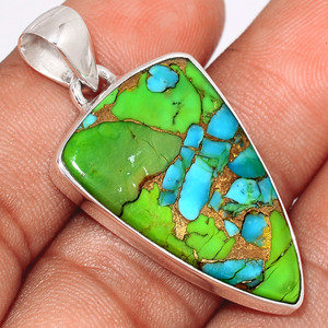 Blue Turquoise In Green Mohave 925 Sterling Silver Pendant  Jewelry BTGP44