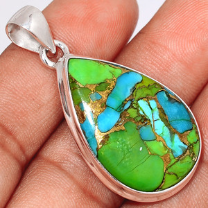 Blue Turquoise In Green Mohave 925 Sterling Silver Pendant  Jewelry BTGP65