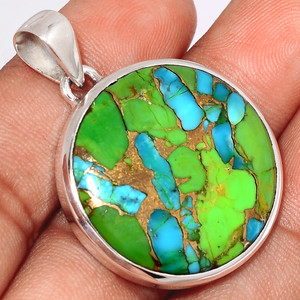 Blue Turquoise In Green Mohave 925 Sterling Silver Pendant  Jewelry BTGP53