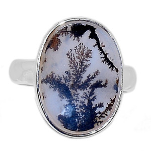Scenic Dendritic Agate Opal 925 Sterling Silver Ring Jewelry s.7 SDAR1132