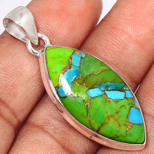 Blue Turquoise In Green Mohave 925 Sterling Silver Pendant  Jewelry BTGP56