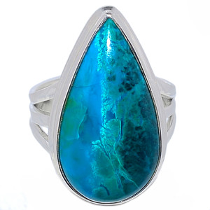 Chrysocolla Peru Cabochon 925 Sterling Silver Ring Jewelry s.9 CCPR317