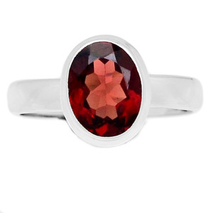 Deep Red Faceted Garnet 925 Sterling Silver Ring Jewelry s.6 GNFR681