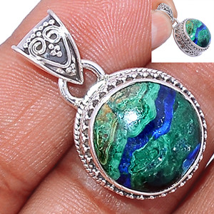 Malachite In Azurite 925 Sterling Silver Pendant  Jewelry MAZP680