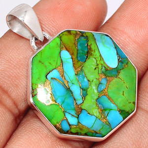 Blue Turquoise In Green Mohave 925 Sterling Silver Pendant  Jewelry BTGP38