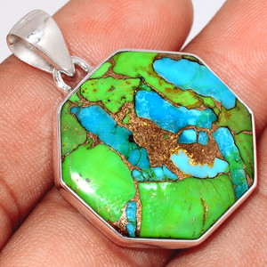 Blue Turquoise In Green Mohave 925 Sterling Silver Pendant  Jewelry BTGP84