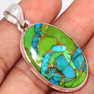 Blue Turquoise In Green Mohave 925 Sterling Silver Pendant  Jewelry BTGP63