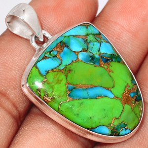 Blue Turquoise In Green Mohave 925 Sterling Silver Pendant  Jewelry BTGP54