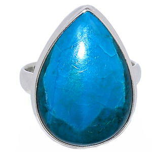 Chrysocolla Peru Cabochon 925 Sterling Silver Ring Jewelry s.9 CCPR322