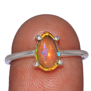 Beautiful Faceted Ethiopian Opal 925 Sterling Silver Ring Jewelry s.7.5 EOFR1563