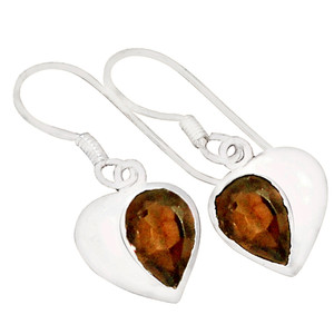 Smokey Quartz 925 Sterling Silver Earrings Jewelry E2120S