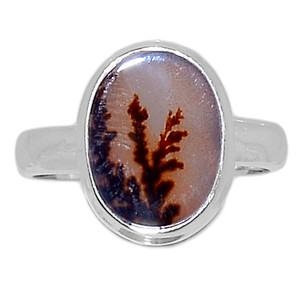 Scenic Dendritic Agate Opal 925 Sterling Silver Ring Jewelry s.7 SDAR1068
