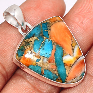Spiny Oyster Arizona Turquoise 925 Sterling Silver Pendant  Jewelry SOTP629