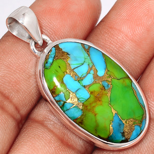 Blue Turquoise In Green Mohave 925 Sterling Silver Pendant  Jewelry BTGP55