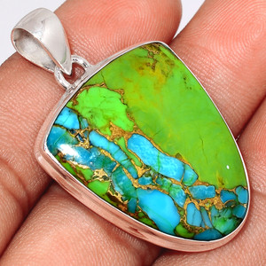 Blue Turquoise In Green Mohave 925 Sterling Silver Pendant  Jewelry BTGP47