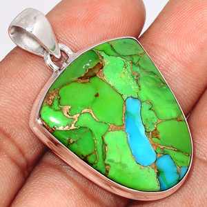 Blue Turquoise In Green Mohave 925 Sterling Silver Pendant  Jewelry BTGP80
