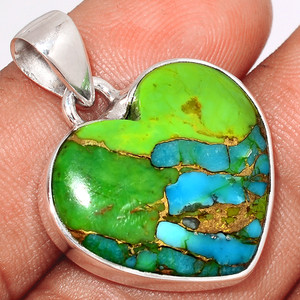Blue Turquoise In Green Mohave 925 Sterling Silver Pendant  Jewelry BTGP68