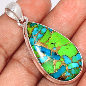 Blue Turquoise In Green Mohave 925 Sterling Silver Pendant  Jewelry BTGP52