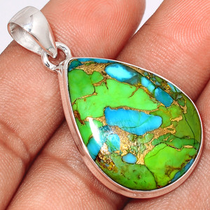 Blue Turquoise In Green Mohave 925 Sterling Silver Pendant  Jewelry BTGP37