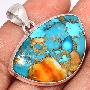 Spiny Oyster Arizona Turquoise 925 Sterling Silver Pendant  Jewelry SOTP651