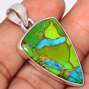 Blue Turquoise In Green Mohave 925 Sterling Silver Pendant  Jewelry BTGP58