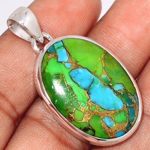 Blue Turquoise In Green Mohave 925 Sterling Silver Pendant  Jewelry BTGP51