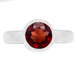 Faceted Garnet 925 Sterling Silver Ring Jewelry s.6 GNFR672