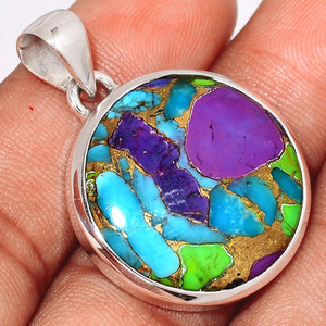 Multi Copper Turquoise 925 Sterling Silver Pendant  Jewelry MCTP46