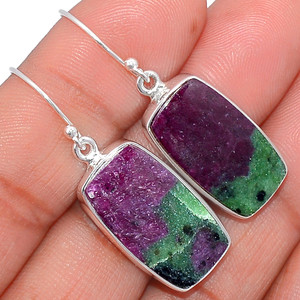 Ruby Zoisite 925 Sterling Silver Earrings Jewelry RBZE52