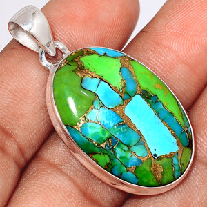 Blue Turquoise In Green Mohave 925 Sterling Silver Pendant  Jewelry BTGP67